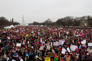 The #readmylips campaign, like the Women's March on Washington, encourages women to voice their political concerns, especially those concerning Trump.